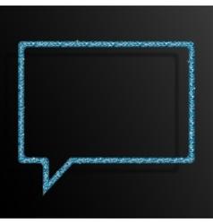 Frame blue sequins speech bubble sparkle stars vector