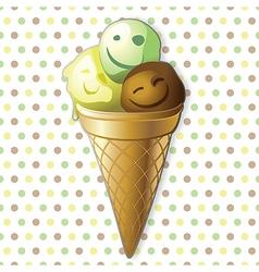 Funny ice cream balls in a cone vector