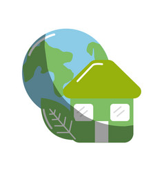 Green house with leaf and earth planet vector