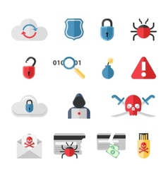 Hacker flat icons set with bug virus crack worm vector image
