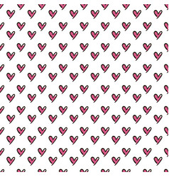 Hearts seamless pattern cute doodle hearts summer vector