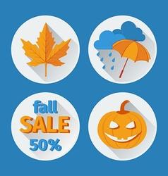 Icons set autumn flat design vector