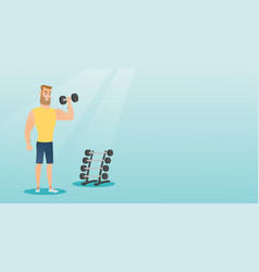 Man lifting dumbbell vector