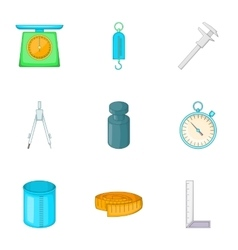 Measuring equipment icons set cartoon style vector image