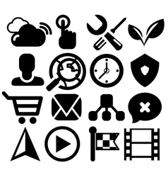 Modern black web icon set vector image