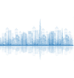 Outline dubai city skyscrapers skyline vector