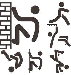 Parkour icons set vector