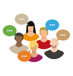 people avatar icons with dialog speech bubbles vector image vector image