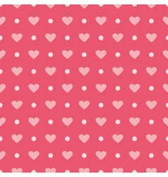 Pink background with hearts and polka dots vector image vector image