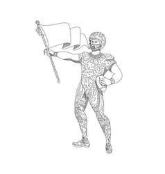 Quarterback holding flag doodle vector
