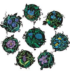 Round blue flower designs vector