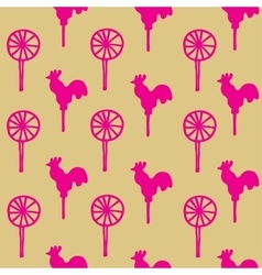 Seamless pattern cocks lollipops vector