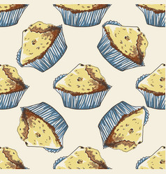 seamless pattern with hand-drawn muffins vector image