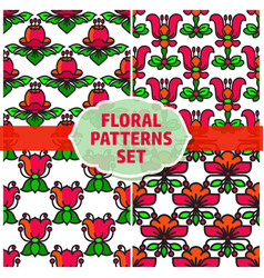 seamless patterns set with flowers and vector image vector image