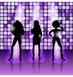 singing girls disco style vector image vector image