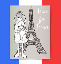 Sketch condolences for France poster vector image vector image