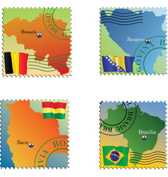 Stamp with an image of map capital of belgium boli vector