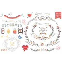 Vintage wedding Floral doodle Decoricons set vector image