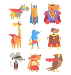 Animas Dressed As Superheroes Set Of Geometric vector image