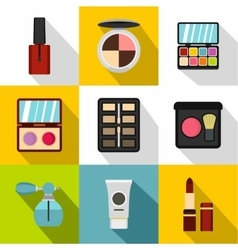 Cosmetics icons set flat style vector