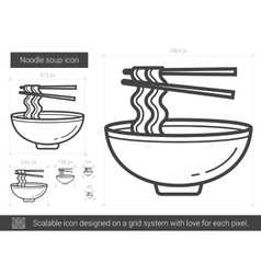 Noodle soup line icon vector