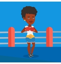 Confident boxer in the ring vector image