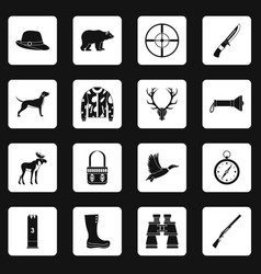 Hunting icons set squares vector