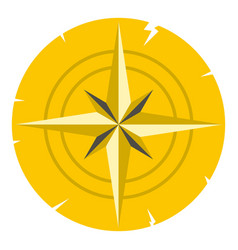 Gold ancient compass icon isolated vector
