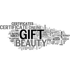 Beauty gift certificates give the gift that will vector