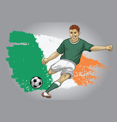 Ireland soccer player with flag as a background vector