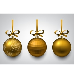 Golden christmas balls vector