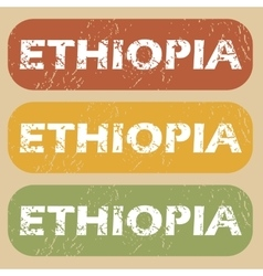 Vintage ethiopia stamp set vector