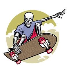 skull playing skateboard vector image