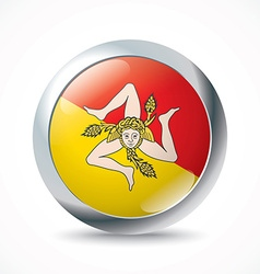 Sicily flag button vector