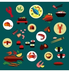 Seafood and delicatessen flat icons vector
