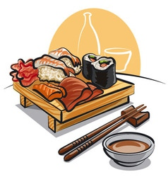 japan cuisine - sushi set and sauce vector image