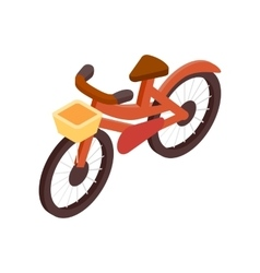 Bicycle with basket isometric 3d icon vector