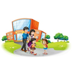 Family members in front of the school vector image