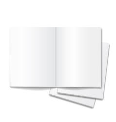 Blank open books isolated over white background vector