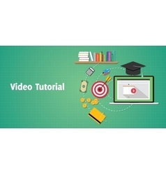 Video tutorials concept with laptop video play and vector