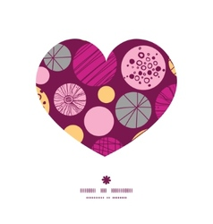 Abstract textured bubbles heart silhouette pattern vector