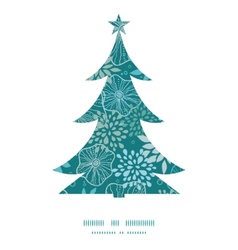 blue and gray plants Christmas tree silhouette vector image