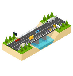 bridge highway over river isometric view vector image vector image