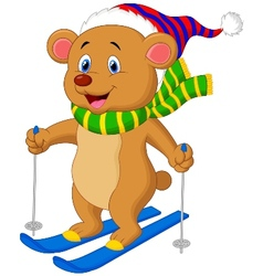 Brown bear cartoon skiing vector