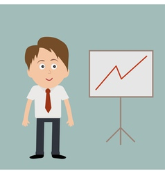 Businessman and board with diagram vector image
