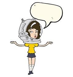 Cartoon woman wearing space helmet with speech vector