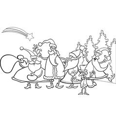 christmas santa group coloring page vector image