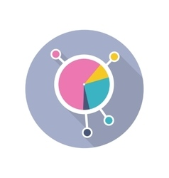 Circle diagram icon in flat style design vector