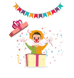 Clown surprise from box present party cartoon vector