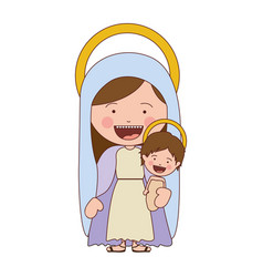 colorful silhouette of smiling saint virgin mary vector image